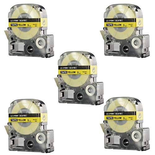 Replace Label Tape for Epson LK3WBN LC3WBN9, Label Tape Cartridge Compatible for Epson LabelWorks LW300 LW400 LW500 LW600P LW700,3/8 Inch X 26.2 Feet(9mm x 8M) (12mm Black on Yellow, 5 Pack) Photo #8