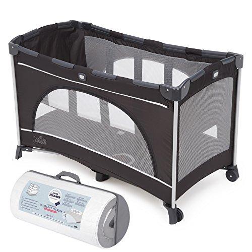 Joie Reisebett Allura 120 mit Babyeinhang und Tasche   inkl. Julius Zöllner Travelsoft Premium Reisebettmatratze 120 x 60 cm   Farbe Black Ink