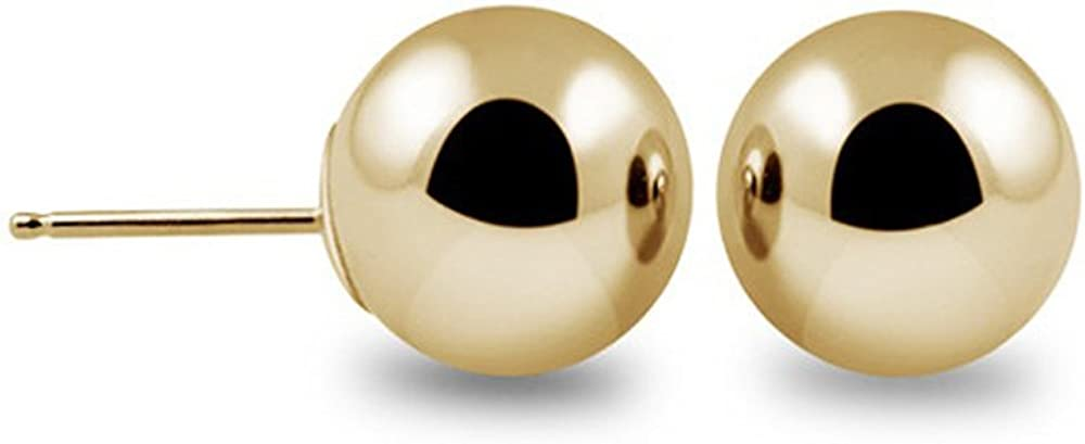 14k Gold Ball Stud Earrings Silicon & Gold pushback (5 Millimeters) Yellow Gold/Rose Gold & White Gold