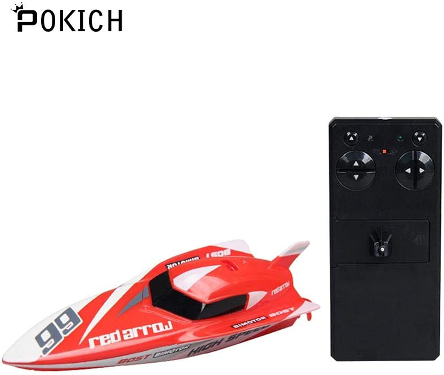 Generic Pokich Mini Remote Control Racing Boat 2.4G 4CH Rechargable RC Ship Electric Toy Waterproof Speedboat Red