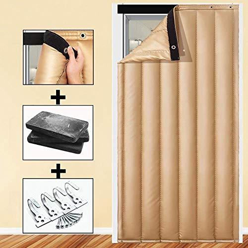 ZXL Beige warmte bescherming deur gordijn warme isolatie koude blokkeren winter ingang deur vulling (grootte: 90x220cm)
