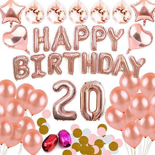 DANXIAN Anniversaire Décorations Or Rose Ballons Décorations Aluminium Happy Birthday Bannière Fournitures de Fête Kit (20)