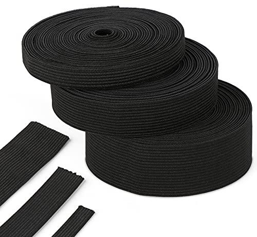Agoer Ruban élastique Noir 10-20 - 30mm, 15 mètres / 16 Yards Bande élastique Bobine de Cordon élastiques Couture pour Artisanat/Vetement/Pantalon/Perruque (Noir)