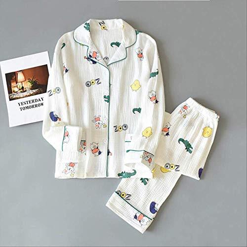 XFLOWR Katoenen pyjamaset voor dames, leuke cartoon, dieren, bedrukt, lente, turn-down kraag, eenvoudige kunst, nachtkleding, zacht, dun, Homewear L wit