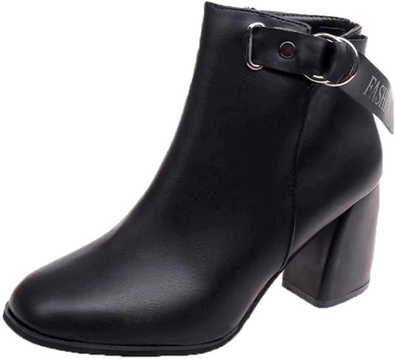 IINFINE Women Boots Autumn, Women Ladies Autumn shoes Ankle Solid Martin Roman Short Boots Single Casual shoes