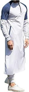 Mens Muslim Gown Thobe Long Sleeve Stitching Cotton Robe Stand Collar Zipper Side Split Pocket Islamic Robe V-Neck