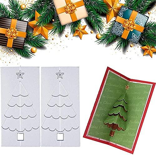 LASULEN 2 Troqueles Plegables de Corte de Metal para árbol de Pino de Navidad en 3D, Molde para Cortar en Relieve para Cortar árboles de Navidad, Hacer Tarjetas para álbumes de Recortes de Papel