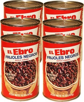 El Ebro Cuban Style Black Beans. 6 cans, 15 oz each