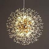 Vikaey Kristall Löwenzahn Kronleuchter, G9 Basis Wohnzimmer hängende Lampe, moderne Pendelleuchte für Schlafzimmer Küche Restaurant (16-Licht, Gold)