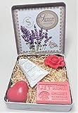 Caja metálica AMOR Crema de manos Bio organico Leche de burra Flor de algodon + Jabón Je t'aime + Jabón Flor +Jabón corazon