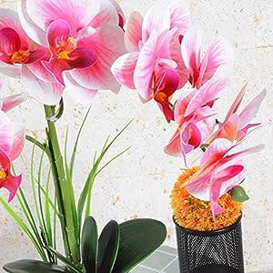 vivilinen decorative phalaenopsis artificial flowers arrangement orchid plants bonsai home office party decoration with vase (one size, pink) silk flower arrangements