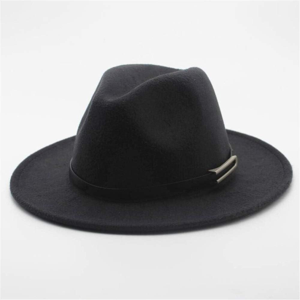 No-branded Men Women Fedora Hat with Belt Wide Brim Church Hat Wool Trilby Hat Cloche Jazz Hat Size 56-58CM ZRZZUS (Color : Dark Gray, Size : 56-58)