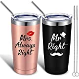 2 Pieces Mr Mrs Always Right Tumbler Mug, Funny Wedding Valentine Gifts for Him Her, Gift for Engagement, Couples, Anniversary, Birthday, Newlyweds, Novelty and Bridal Shower
