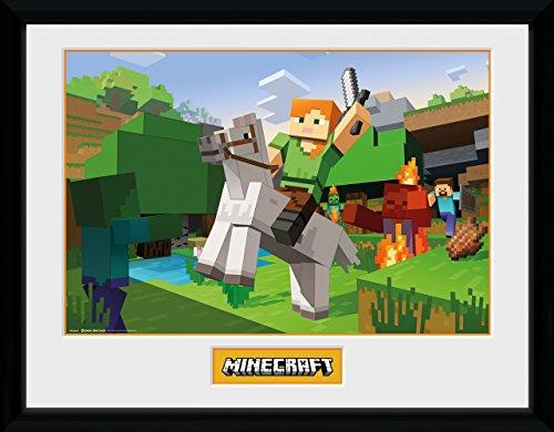 GB Eye Ltd Minecraft, Zombie Attack Kunstdruck, gerahmt, 30x 40cm, verschiedene
