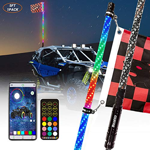 Beatto 5FT(1.5M) LED Whips Light With Dacning/Chasing and Can Controlled by remote and app Simultaneously with Lock Function