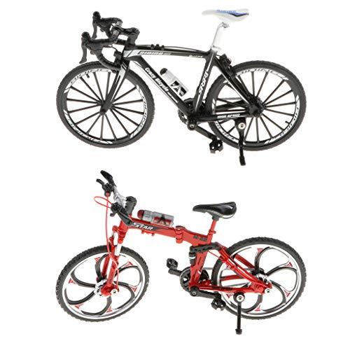 simhoa 2 X Alloy 1/10 Folding Mountain Bike Model Gifts Black+Red