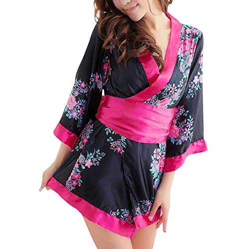 Japanese Kimono Role Lingerie Set 3/4 Sleeve Mini Dress with OBI Belt Sexy Girl Geisha Cosplay Costume Outift (Black)