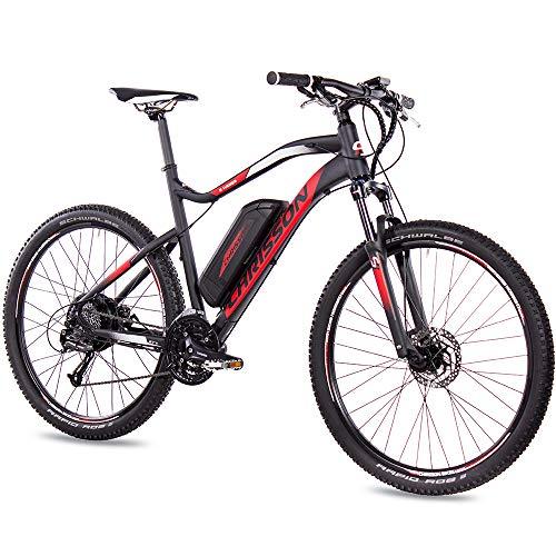 CHRISSON 27,5 inch E-Bike Mountainbike - E-Weger zwart rood - elektrische fiets voor heren en dames - 27 versnellingen Shimano Altus derailleur - pedelec met Bafang achterwielmotor 250W, 45Nm