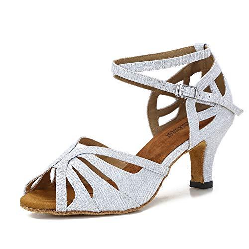 "TTdancewear Ballroom Dance Shoes Women Salsa Latin Practice Dancing Shoes Low Heel 2.5""(6.5,Silver)"