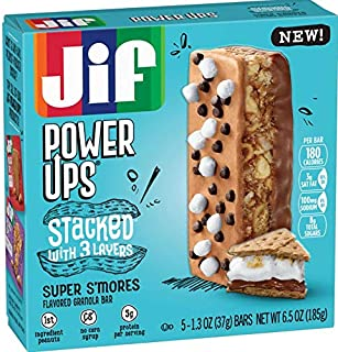 Jif Power Ups Super S'mores, 3 Layer Stacked Flavored Granola bar, S'mores, 30Count