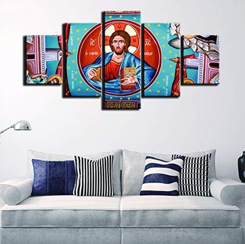 lbonb (Sin Marco) HD Lienzo De Impresión Marco De Cuadros Modulares MarcoArte Pintura 5 Paneles Virgen María Moda para Sala De Estar Decoración Cartel