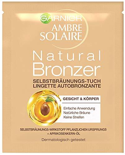 Garnier Ambre Solaire Selbstbräunungs-Tuch, Selbstbräuner mit Aprikosenkernöl, Bräunungsbeschleuniger in Gold (1 Stück)