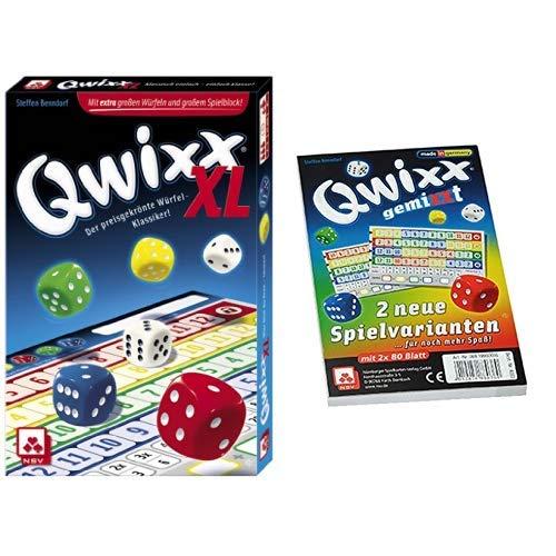 NSV - 4022 - QWIXX XL - Würfelspiel & - 4033 - QWIXX GEMIXXT- neue Spielvarianten, 2-er Set Blöcke, Würfelspiel