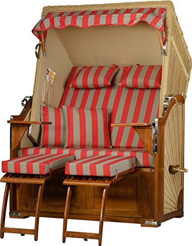 Möbelpromenade Strandkorb Juist Mahagoni PE Natur Dessin Rot Beige fertig aufgebaut