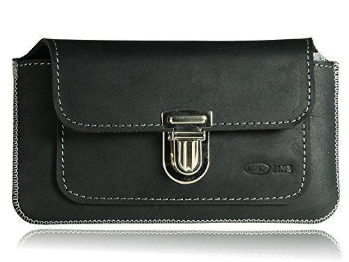 OrLine - Funda de cinturón para Samsung Galaxy J6 Plus Bolso de piel con bolsillo múltiple para teléfono móvil, cartera Funda de cinturón de piel de vacuno natural