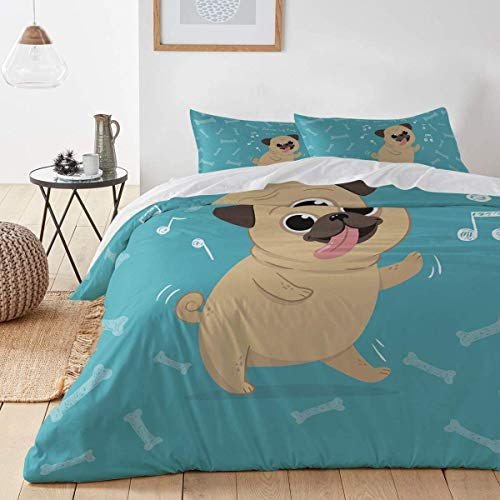 Kanaite Dancing Pug 3-Piece Duvet Cover Set Modern Comforter Cover Bedding Set Ultra Soft Hypoallergenic Microfiber(1 Duvet Cover and 2 Pillow Shams)