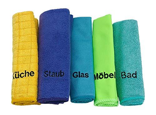 KaiserRein Mikrofasertücher/Reinigungstücher-Set 5 er Set beschriftet mit Küche, Bad, Möbel, Staub und Glas