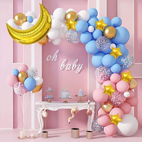 126 Pezzi Rosa Blu Palloncini Ghirlanda Arco Kit Gender Reveal Baby Shower Luna e Stelle...
