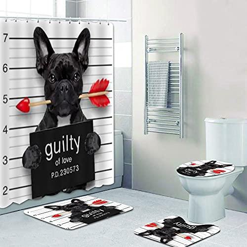 SHUOFUSH Funny Valentine French Bulldog Shower Curtain Set Guilty of Love Bad Dog Puppy Bathroom Curtain Bath Mats Police Mugshot Decor 70.9x70.9inch