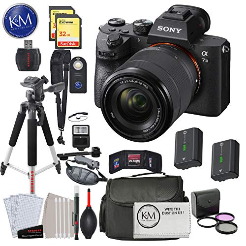 Sony Alpha a7 III Mirrorless Digital Camera with 28-70mm Lens with Deluxe Striker Bundle: Includes Memory Cards, Large Tripod, Camera Bag, FilterSet, Extra Battery, Cleaning Kit, and More