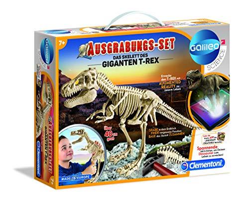 Clementoni 69491 Galileo Science – Ausgrabungs-Set Das Skelett des Giganten T-Rex, Spielzeug für Kinder ab 7 Jahren, Ausgraben von Fossilien mit Hammer & Meißel, für kleine Forscher