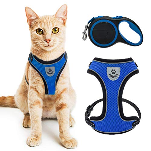 Cat Harness and Retractable Leash Set - Escape Proof Reflective Mesh Walking Vest with Adjustable 16.5ft Leash for Cats Puppies Small Dog,Blue