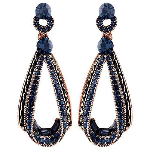 SMEJS Pendientes largos vintage y elegantes de plata de ley 925 Pendiente colgante de gota bohemia para mujer Joyería Moda y regalo de fiesta de San Valentín, Azul