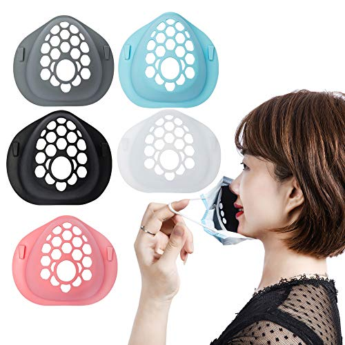 3D Mask Bracket Internal Support Frame, Soft Silica gel,Face Mask Support For More Breathing Space,Lipstick Protection For Kids and Adults-5PCS