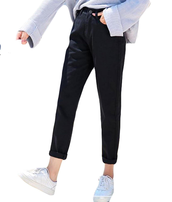 BeiBang(バイバン) レディース デニムパンツ ゆったり 9分丈 ジーンズ 無地 ハイウエスト ジーパン BF風 韓国ファッション 大きいサイズ