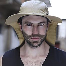 YJZQ Homme Casquette Chapeau de Soleil Chapeau de pêche Anti-UV Casquette Homme avec protège Nuque Chapeau réglable…