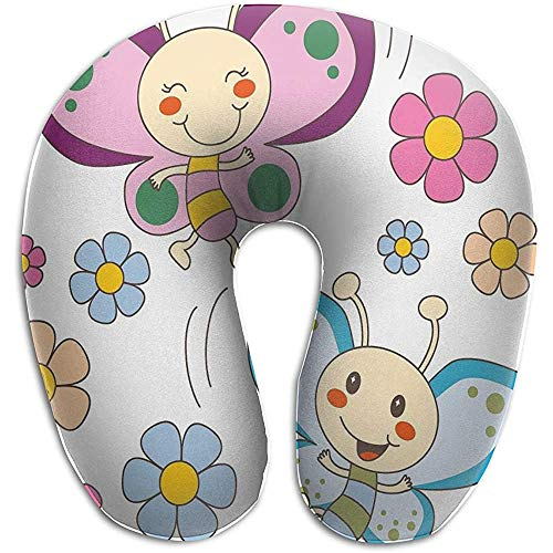 U-förmiges Nackenkissen mit Memory-Schaum, stützt das Zervix-Kopfkissen für Reisen, Auto, Bus, Zug, Flug, Flieder und Blaue Baby-Kinderschmetterlinge