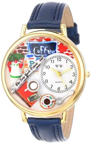 コーヒー愛好家 紺レザー ゴールドフレーム 時計#G0310006
