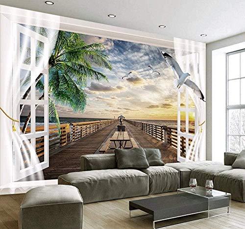 Mural Papel tapiz fotográfico 3D para sala de estar Ventana exterior Puente de madera Puesta de sol Vista al mar Mural de pared Papel tapiz 3D TV papel de decoración de pared Mural-200x140 cm