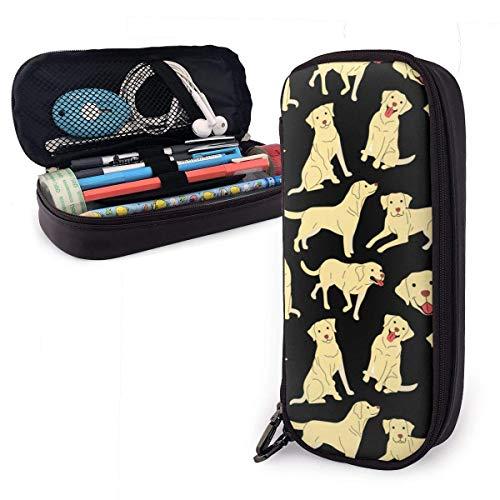 Pencil Case Pen Bag Cartoon Cute Yellow Labrador Dog Pet Pattern Pencil Case, Large Capacity Pen Case Pencil Bag Stationery Pouch Pencil Holder Pouch with Big Compartments