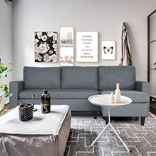oneinmil Convertible Sectional Sofa Couch - L Shaped Couch with Modern Linen Fabric for Small Space (Dark Grey)