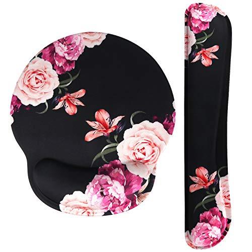 Haocoo Mauspad und Tastatur Handgelenkstütze Set Ergonomie,rutschfeste Gummiunterseite aus Memory-Schaum komfortables Mauspad Reduziert die Handgelenkbelastung (Blume)