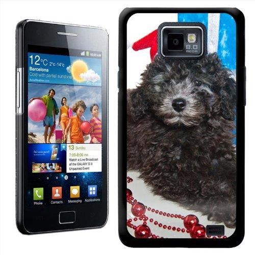 Fancy Een Knuffel Poedel Puppy Hond Klaar Onder de Boom Met Kerstmis Geschenken Ontwerp Hard Case Clip Op Achterzijde Cover voor Samsung Galaxy S2 i9100