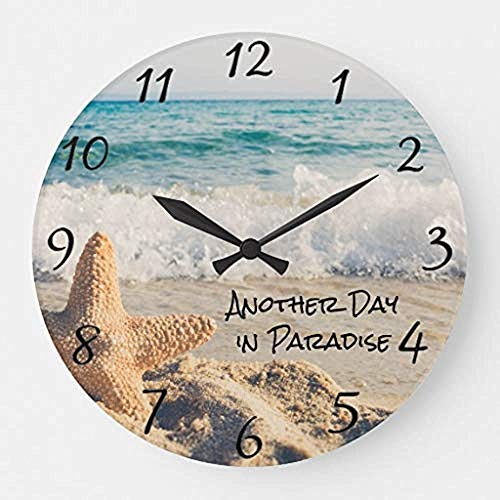 Desconocido 0 Vista sobre el océano Tropical Vida de Playa Estrellas Marinas Ondas Relojes de Pared de Madera salón Decorativo Funcionamiento a batería Navidad no Ticking