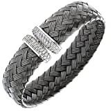 Citerna Ruthenium Plated Sterling Silver, Basket Weave and CZ Cuff Bangle of Diameter 65 mm