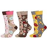 soxo Damen 3 Paar Bunte Socken   Größe 35-40   Motivsocken aus Baumwolle - Kaffee Donut Pizza   Lustige Geschenk für Frauen, Multicolour, 35 - 40 EU